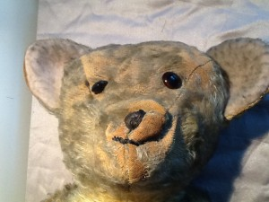 A sad bear in need of some gentle re- stuffing as the excelsior or wood shavings had gone to dust from age
